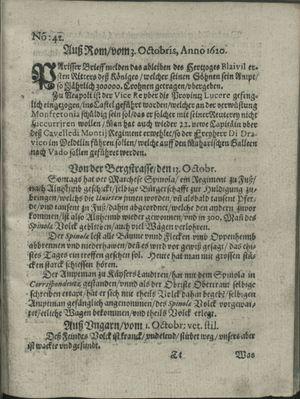 Zeitung auß Deutschlandt, Welschlandt, Franckreich, Böhmen, Hungarn, Niederlandt und andern Orten vom 26.10.1620