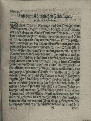 Zeitung auß Deutschlandt, Welschlandt, Franckreich, Böhmen, Hungarn, Niederlandt und andern Orten vom 02.11.1620