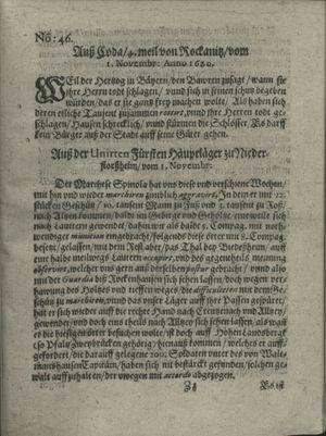 Zeitung auß Deutschlandt, Welschlandt, Franckreich, Böhmen, Hungarn, Niederlandt und andern Orten vom 23.11.1620