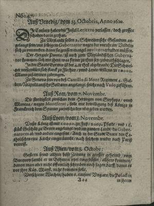 Zeitung auß Deutschlandt, Welschlandt, Franckreich, Böhmen, Hungarn, Niederlandt und andern Orten vom 30.11.1620
