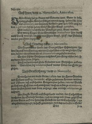Zeitung auß Deutschlandt, Welschlandt, Franckreich, Böhmen, Hungarn, Niederlandt und andern Orten vom 21.12.1620