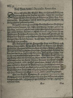 Zeitung auß Deutschlandt, Welschlandt, Franckreich, Böhmen, Hungarn, Niederlandt und andern Orten vom 28.12.1620