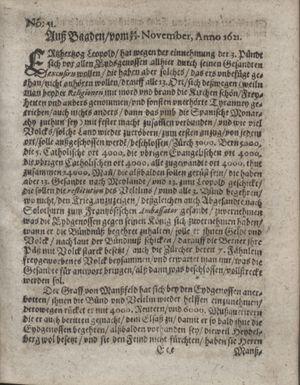 Zeitung im ... Jhaar einkommen und wöchentlich zusammen getragen worden vom 03.01.1622