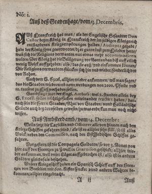 Zeitung im ... Jhaar einkommen und wöchentlich zusammen getragen worden vom 17.01.1622