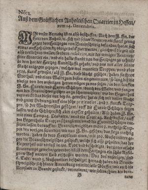 Zeitung im ... Jhaar einkommen und wöchentlich zusammen getragen worden vom 24.01.1622