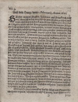 Zeitung im ... Jhaar einkommen und wöchentlich zusammen getragen worden vom 14.03.1622