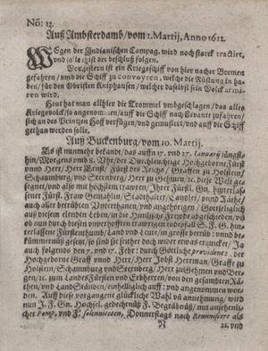 Zeitung im ... Jhaar einkommen und wöchentlich zusammen getragen worden vom 11.04.1622