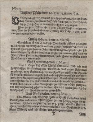Zeitung im ... Jhaar einkommen und wöchentlich zusammen getragen worden vom 25.04.1622