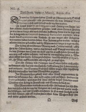 Zeitung im ... Jhaar einkommen und wöchentlich zusammen getragen worden vom 02.05.1622