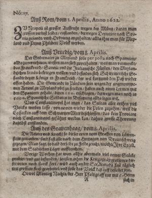 Zeitung im ... Jhaar einkommen und wöchentlich zusammen getragen worden vom 09.05.1622