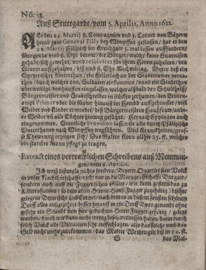Zeitung im ... Jhaar einkommen und wöchentlich zusammen getragen worden vom 16.05.1622