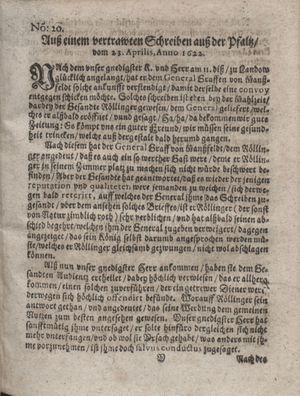 Zeitung im ... Jhaar einkommen und wöchentlich zusammen getragen worden vom 30.05.1622