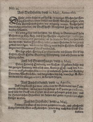 Zeitung im ... Jhaar einkommen und wöchentlich zusammen getragen worden vom 13.06.1622