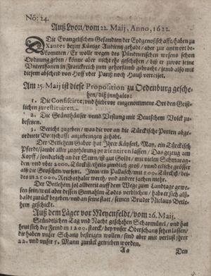 Zeitung im ... Jhaar einkommen und wöchentlich zusammen getragen worden vom 27.06.1622