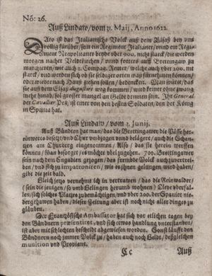 Zeitung im ... Jhaar einkommen und wöchentlich zusammen getragen worden vom 11.07.1622