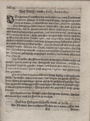 Zeitung im ... Jhaar einkommen und wöchentlich zusammen getragen worden vom 15.08.1622