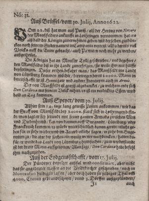 Zeitung im ... Jhaar einkommen und wöchentlich zusammen getragen worden vom 22.08.1622