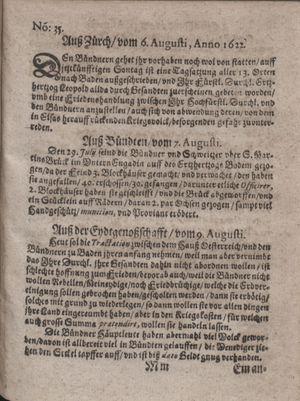 Zeitung im ... Jhaar einkommen und wöchentlich zusammen getragen worden vom 12.09.1622