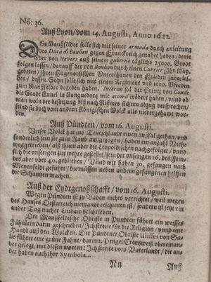 Zeitung im ... Jhaar einkommen und wöchentlich zusammen getragen worden vom 19.09.1622