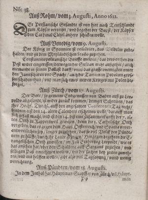 Zeitung im ... Jhaar einkommen und wöchentlich zusammen getragen worden vom 03.10.1622