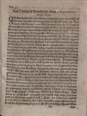 Zeitung im ... Jhaar einkommen und wöchentlich zusammen getragen worden vom 17.10.1622