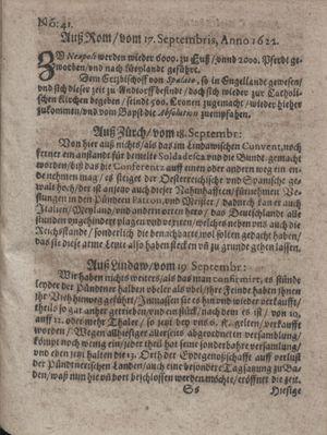 Zeitung im ... Jhaar einkommen und wöchentlich zusammen getragen worden vom 24.10.1622