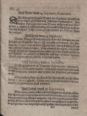 Zeitung im ... Jhaar einkommen und wöchentlich zusammen getragen worden vom 31.10.1622