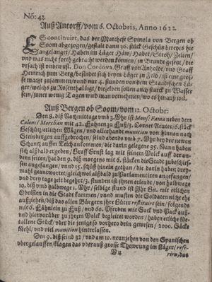 Zeitung im ... Jhaar einkommen und wöchentlich zusammen getragen worden vom 07.11.1622
