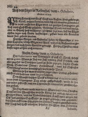 Zeitung im ... Jhaar einkommen und wöchentlich zusammen getragen worden vom 14.11.1622