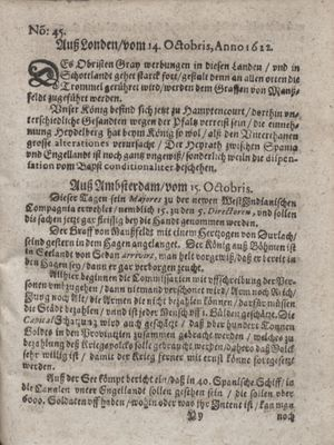 Zeitung im ... Jhaar einkommen und wöchentlich zusammen getragen worden vom 21.11.1622