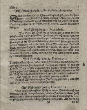 Zeitung so im ... Jahr von Wochen zu Wochen colligirt und zusammen getragen worden vom 23.01.1623