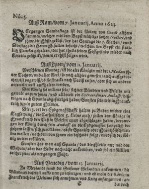 Zeitung so im ... Jahr von Wochen zu Wochen colligirt und zusammen getragen worden vom 13.02.1623