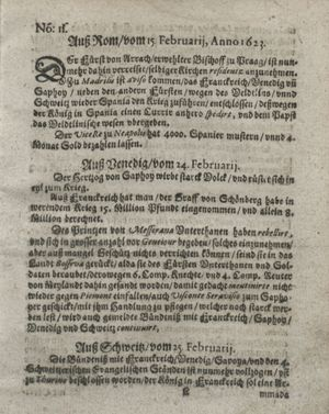 Zeitung so im ... Jahr von Wochen zu Wochen colligirt und zusammen getragen worden vom 27.03.1623