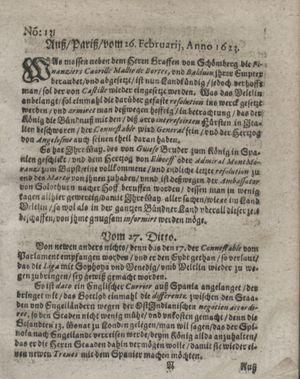 Zeitung so im ... Jahr von Wochen zu Wochen colligirt und zusammen getragen worden vom 10.04.1623