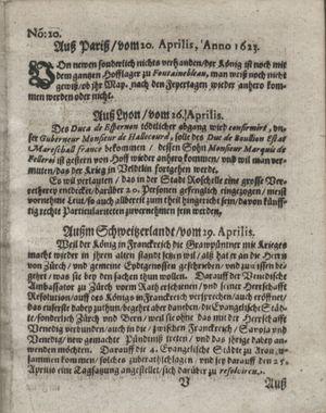 Zeitung so im ... Jahr von Wochen zu Wochen colligirt und zusammen getragen worden vom 29.05.1623