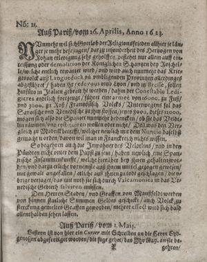 Zeitung so im ... Jahr von Wochen zu Wochen colligirt und zusammen getragen worden vom 05.06.1623