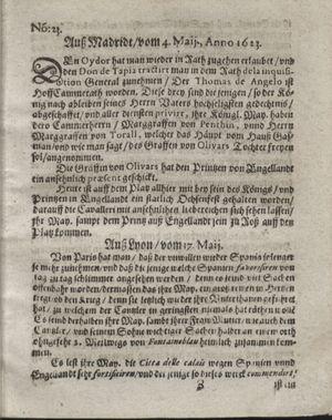 Zeitung so im ... Jahr von Wochen zu Wochen colligirt und zusammen getragen worden vom 19.06.1623