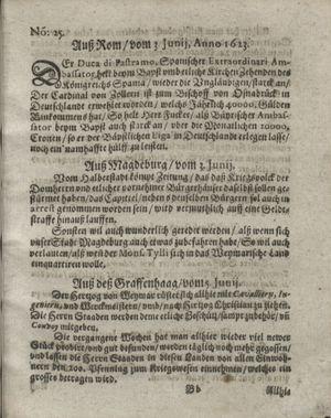 Zeitung so im ... Jahr von Wochen zu Wochen colligirt und zusammen getragen worden vom 03.07.1623