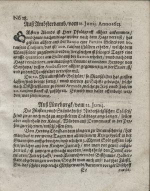 Zeitung so im ... Jahr von Wochen zu Wochen colligirt und zusammen getragen worden vom 24.07.1623