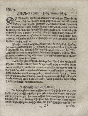 Zeitung so im ... Jahr von Wochen zu Wochen colligirt und zusammen getragen worden vom 21.08.1623