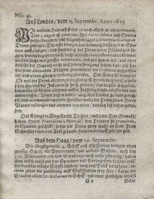 Zeitung so im ... Jahr von Wochen zu Wochen colligirt und zusammen getragen worden vom 23.10.1623