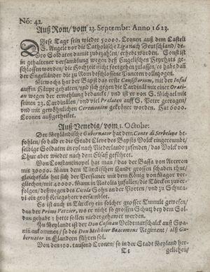 Zeitung so im ... Jahr von Wochen zu Wochen colligirt und zusammen getragen worden vom 30.10.1623