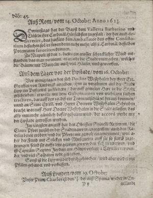 Zeitung so im ... Jahr von Wochen zu Wochen colligirt und zusammen getragen worden vom 20.11.1623