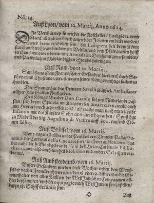 Zeitung so im ... Jahr von Wochen zu Wochen colligirt und zusammen getragen worden vom 15.04.1624