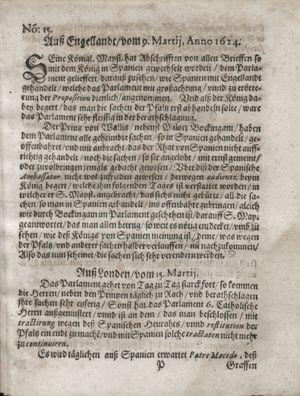 Zeitung so im ... Jahr von Wochen zu Wochen colligirt und zusammen getragen worden vom 22.04.1624