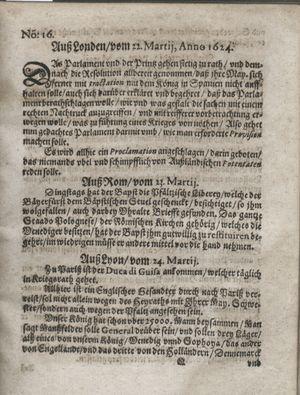 Zeitung so im ... Jahr von Wochen zu Wochen colligirt und zusammen getragen worden vom 29.04.1624