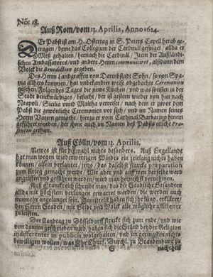 Zeitung so im ... Jahr von Wochen zu Wochen colligirt und zusammen getragen worden vom 13.05.1624