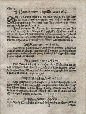 Zeitung so im ... Jahr von Wochen zu Wochen colligirt und zusammen getragen worden vom 20.05.1624