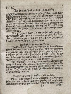 Zeitung so im ... Jahr von Wochen zu Wochen colligirt und zusammen getragen worden vom 24.06.1624
