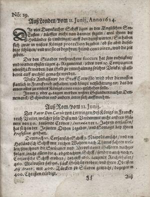 Zeitung so im ... Jahr von Wochen zu Wochen colligirt und zusammen getragen worden vom 29.07.1624